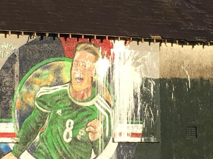 Paintbomb attack on mural of Northern Ireland football team captain Steven Davis3