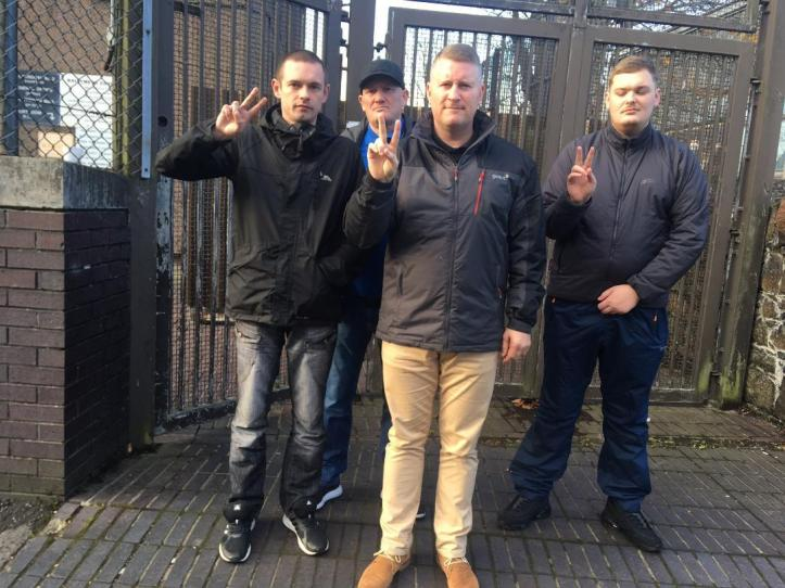 Paul Golding (front) pictured with supporters during an earlier hearing at Ballymena Magistrates Court. Picture - North East News